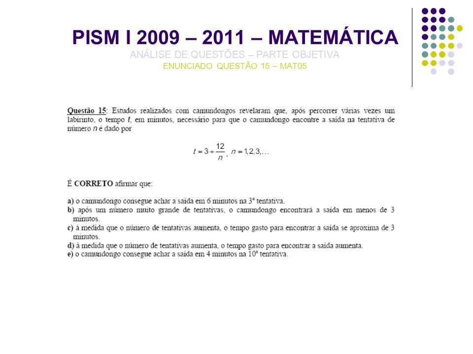 PISM I 2009 – 2011 – MATEMÁTICA ANÁLISE DE QUESTÕES – PARTE OBJETIVA ENUNCIADO QUESTÃO 15 – MAT05
