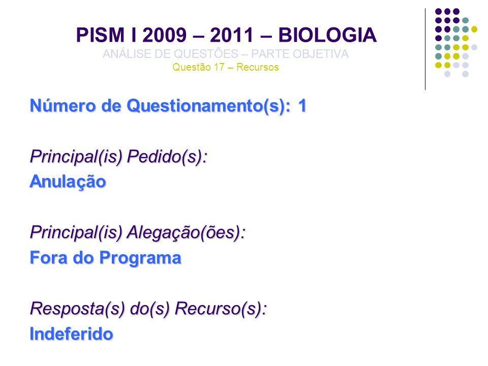 PISM I 2009 – 2011 – BIOLOGIA ANÁLISE DE QUESTÕES – PARTE OBJETIVA Questão 17 – Recursos