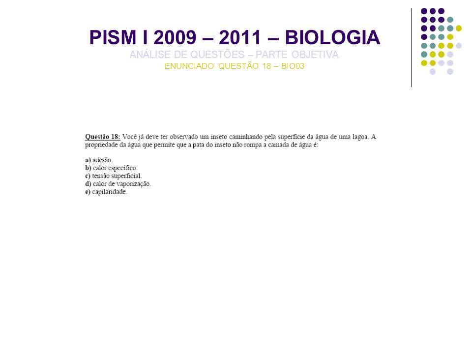 PISM I 2009 – 2011 – BIOLOGIA ANÁLISE DE QUESTÕES – PARTE OBJETIVA ENUNCIADO QUESTÃO 18 – BIO03