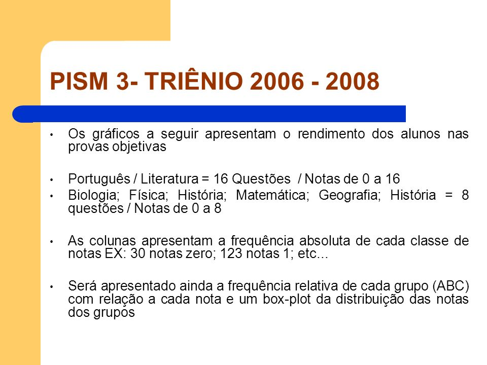 PISM 3- TRIÊNIO 2006 - 2008 Os gráficos a seguir apresentam o rendimento dos alunos nas provas objetivas.