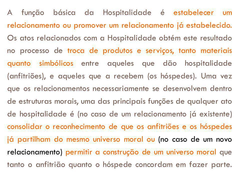 A função básica da Hospitalidade é estabelecer um relacionamento ou promover um relacionamento já estabelecido.