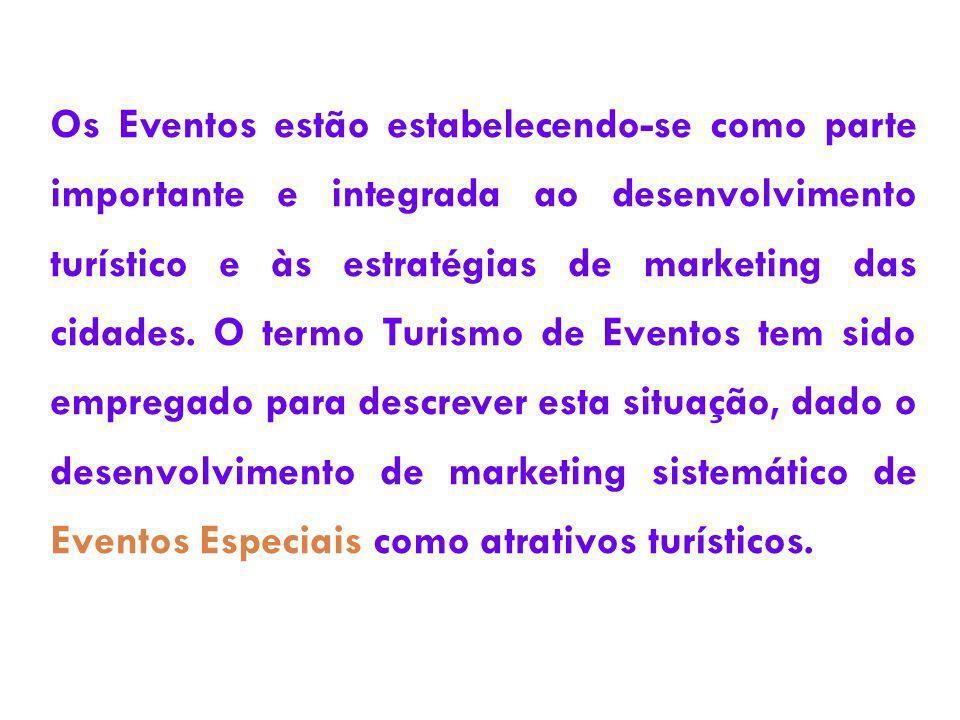 Os Eventos estão estabelecendo-se como parte importante e integrada ao desenvolvimento turístico e às estratégias de marketing das cidades.