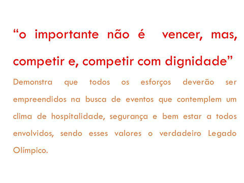 o importante não é vencer, mas, competir e, competir com dignidade