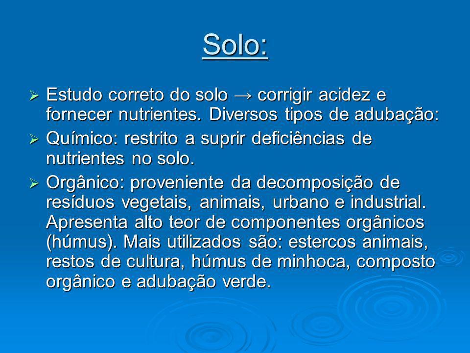 Solo: Estudo correto do solo → corrigir acidez e fornecer nutrientes. Diversos tipos de adubação:
