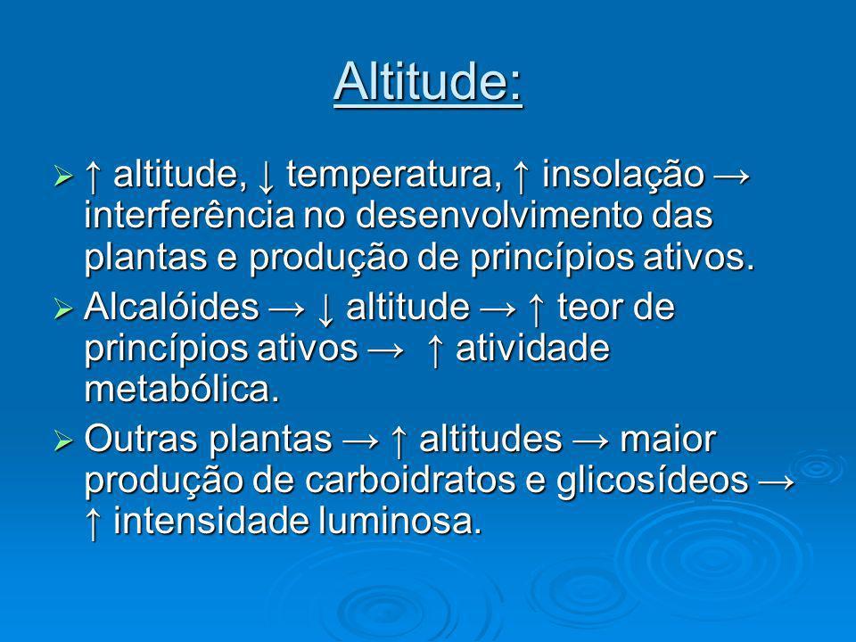 Altitude: ↑ altitude, ↓ temperatura, ↑ insolação → interferência no desenvolvimento das plantas e produção de princípios ativos.