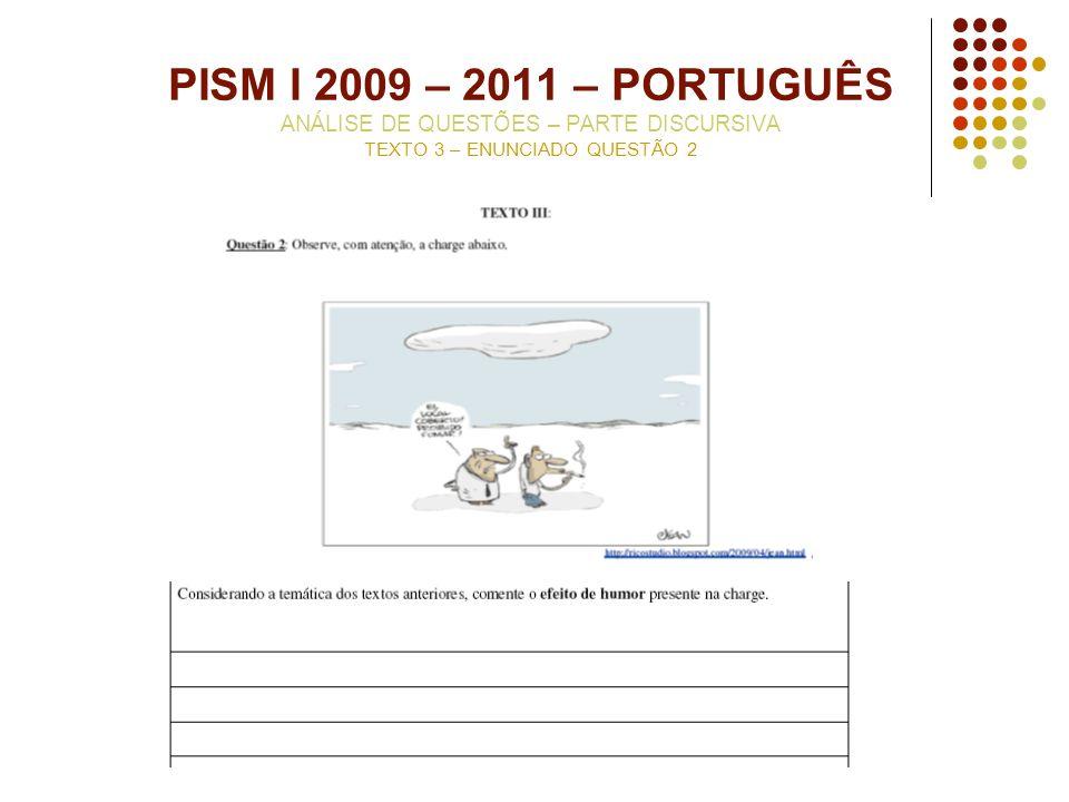 PISM I 2009 – 2011 – PORTUGUÊS ANÁLISE DE QUESTÕES – PARTE DISCURSIVA TEXTO 3 – ENUNCIADO QUESTÃO 2