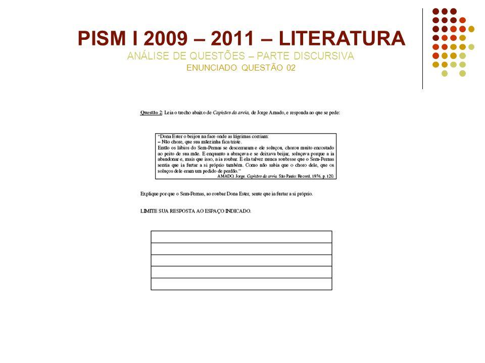 PISM I 2009 – 2011 – LITERATURA ANÁLISE DE QUESTÕES – PARTE DISCURSIVA ENUNCIADO QUESTÃO 02