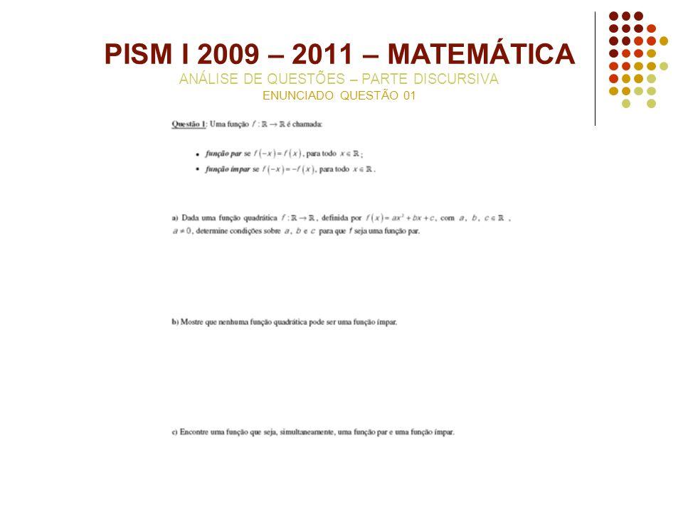PISM I 2009 – 2011 – MATEMÁTICA ANÁLISE DE QUESTÕES – PARTE DISCURSIVA ENUNCIADO QUESTÃO 01
