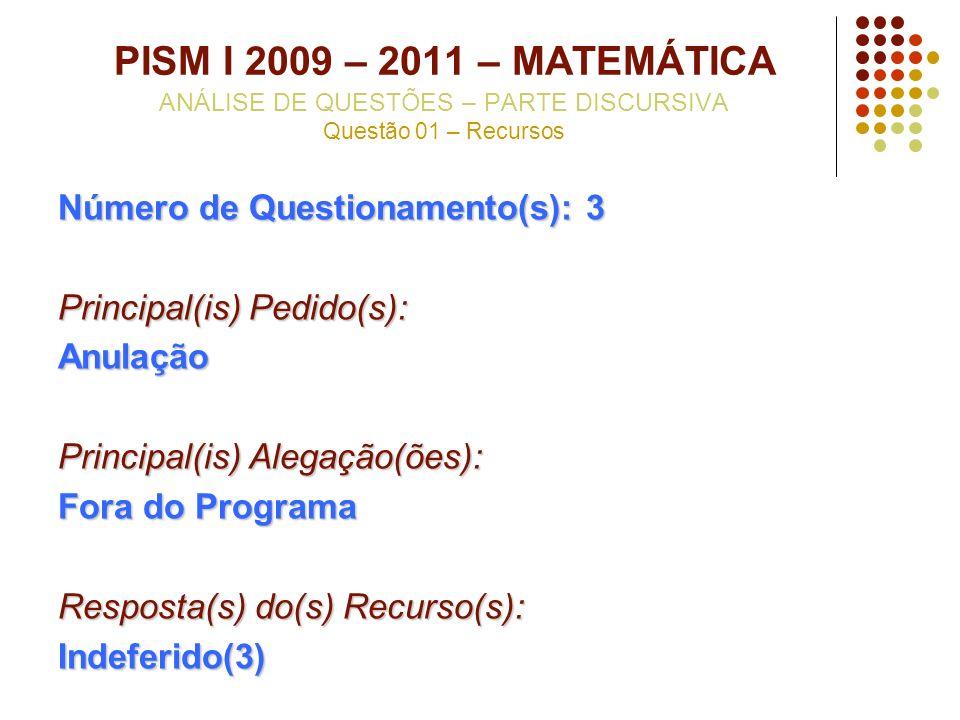 PISM I 2009 – 2011 – MATEMÁTICA ANÁLISE DE QUESTÕES – PARTE DISCURSIVA Questão 01 – Recursos