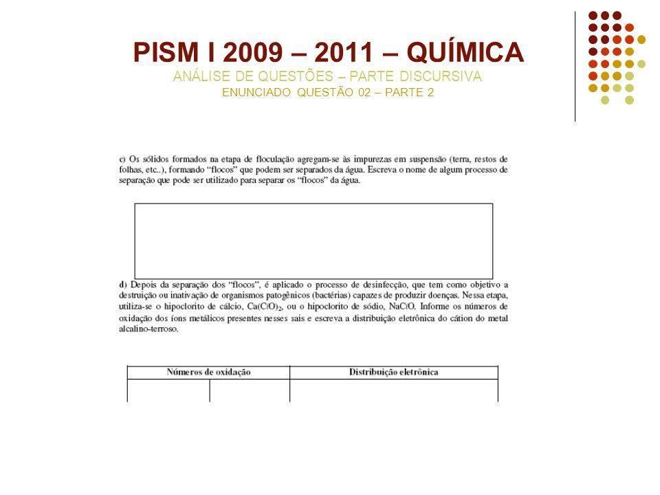 PISM I 2009 – 2011 – QUÍMICA ANÁLISE DE QUESTÕES – PARTE DISCURSIVA ENUNCIADO QUESTÃO 02 – PARTE 2