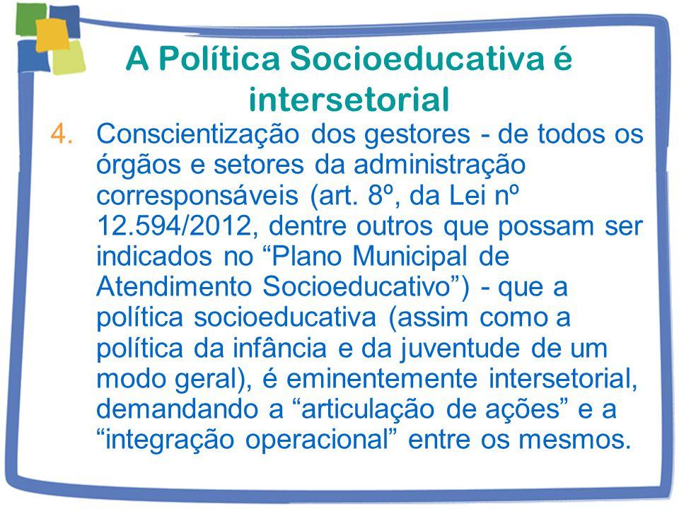 A Política Socioeducativa é intersetorial