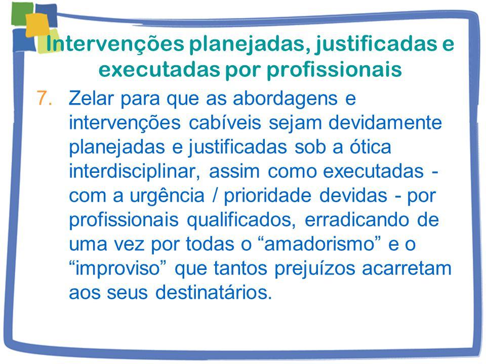 Intervenções planejadas, justificadas e executadas por profissionais