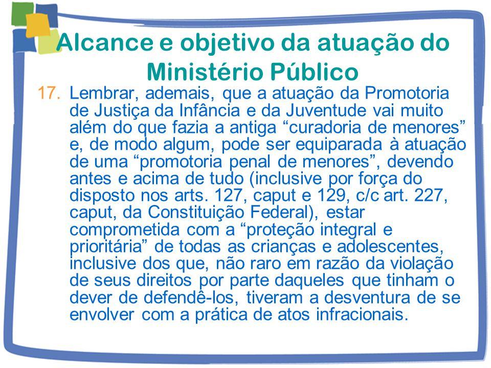 Alcance e objetivo da atuação do Ministério Público