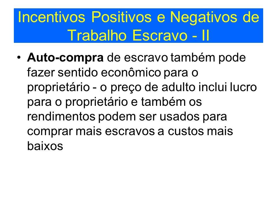 Incentivos Positivos e Negativos de Trabalho Escravo - II