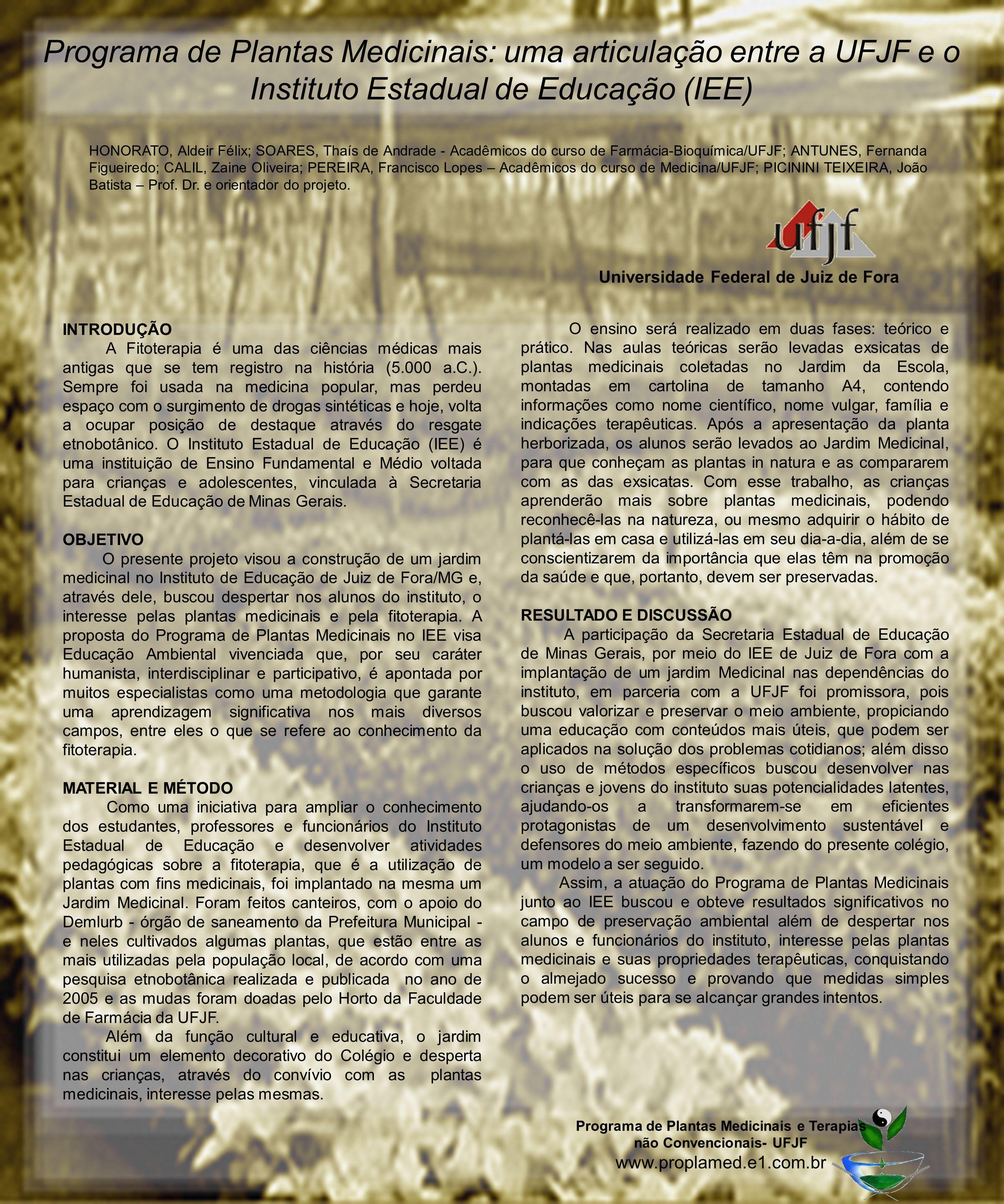 Programa de Plantas Medicinais: uma articulação entre a UFJF e o Instituto Estadual de Educação (IEE)