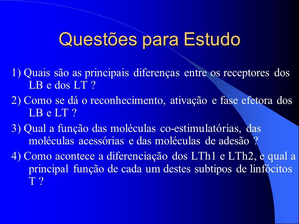 Questões para Estudo 1) Quais são as principais diferenças entre os receptores dos LB e dos LT