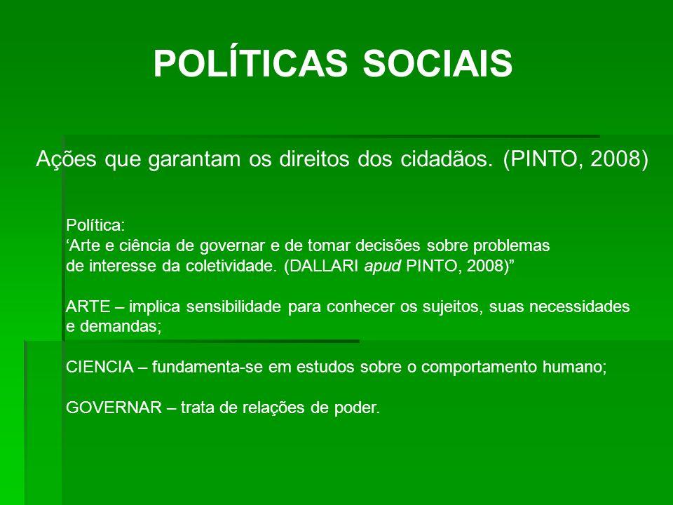 POLÍTICAS SOCIAIS Ações que garantam os direitos dos cidadãos. (PINTO, 2008) Política: