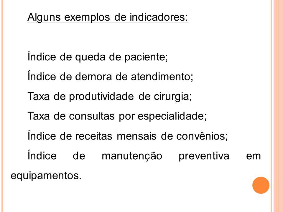 Alguns exemplos de indicadores: