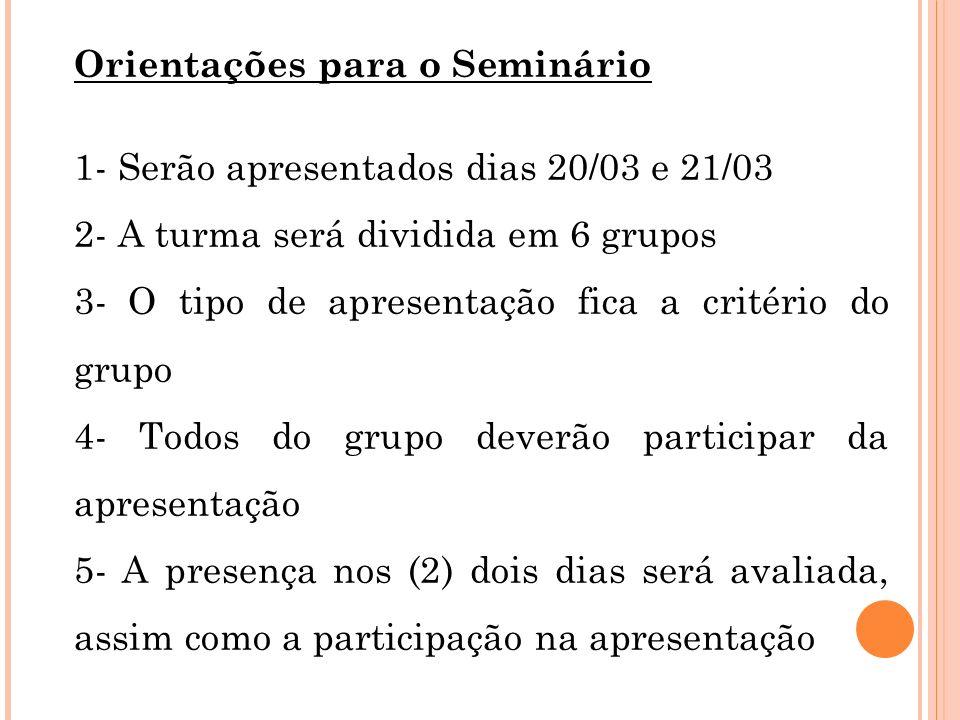 Orientações para o Seminário 1- Serão apresentados dias 20/03 e 21/03