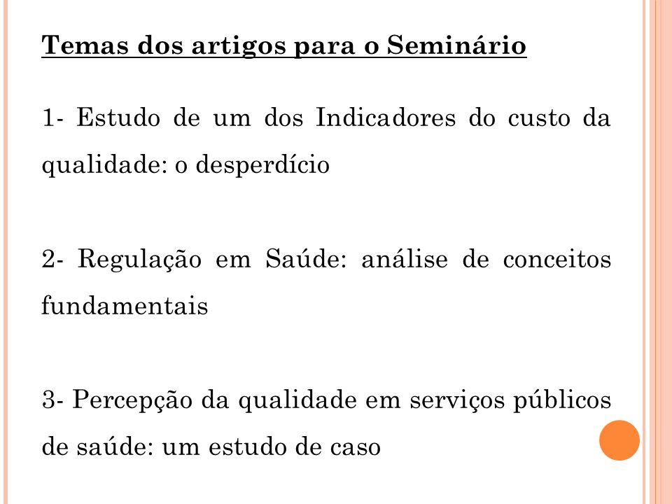 Temas dos artigos para o Seminário