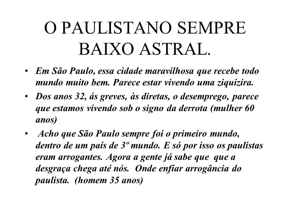 O PAULISTANO SEMPRE BAIXO ASTRAL.