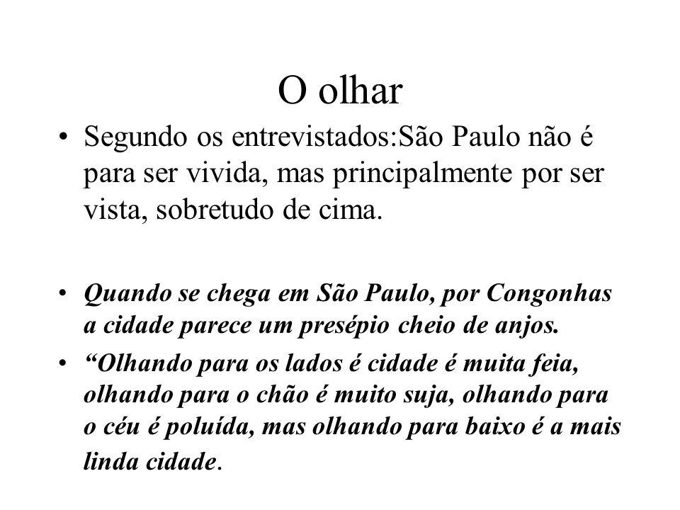 O olharSegundo os entrevistados:São Paulo não é para ser vivida, mas principalmente por ser vista, sobretudo de cima.