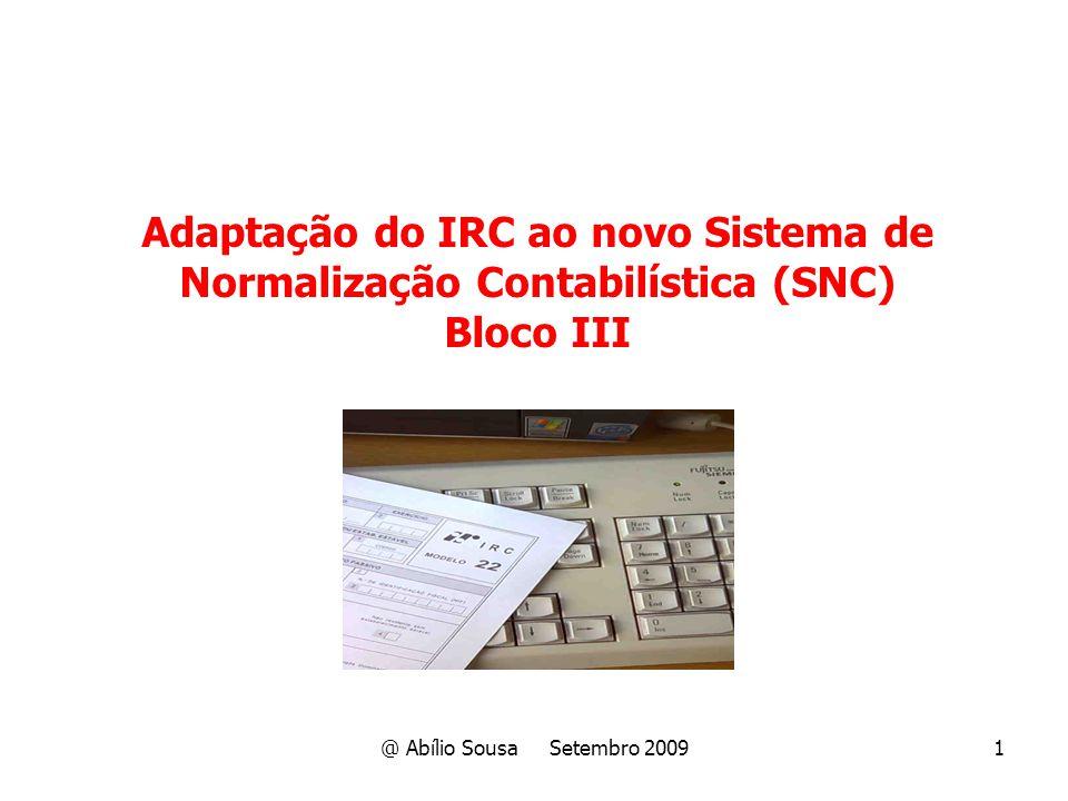 Adaptação do IRC ao novo Sistema de Normalização Contabilística (SNC)
