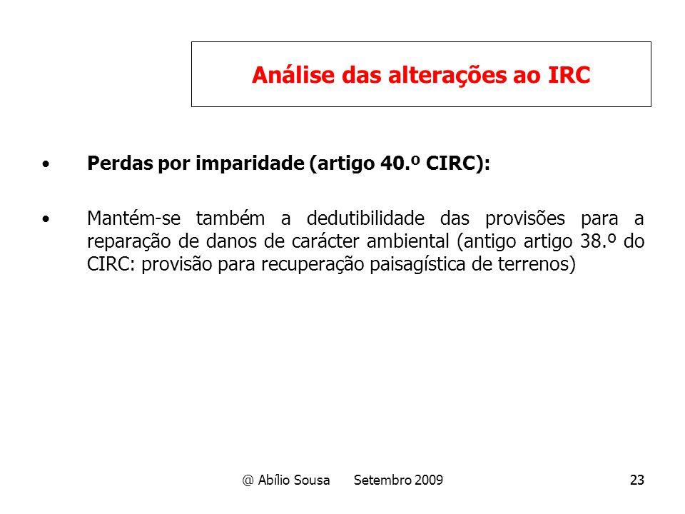 Análise das alterações ao IRC