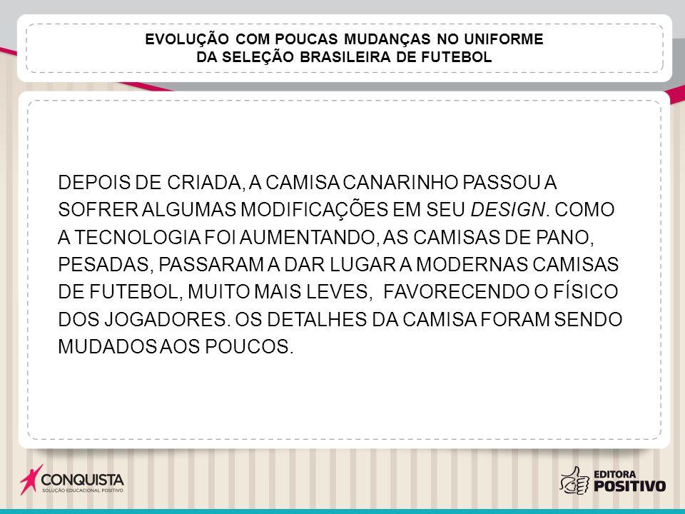 EVOLUÇÃO COM POUCAS MUDANÇAS NO UNIFORME DA SELEÇÃO BRASILEIRA DE FUTEBOL