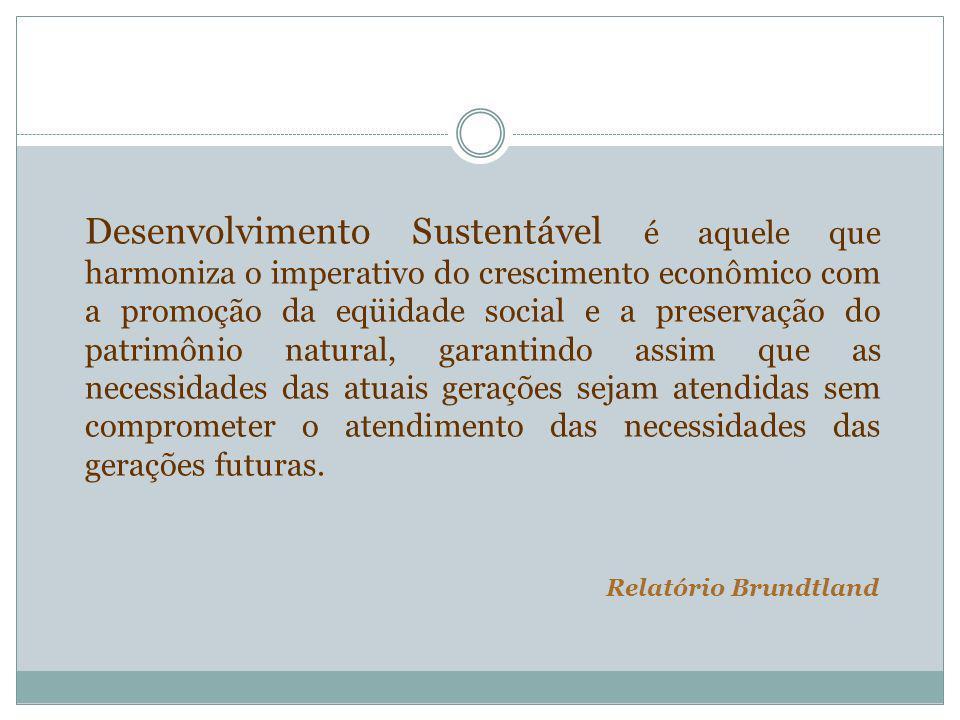 Desenvolvimento Sustentável é aquele que harmoniza o imperativo do crescimento econômico com a promoção da eqüidade social e a preservação do patrimônio natural, garantindo assim que as necessidades das atuais gerações sejam atendidas sem comprometer o atendimento das necessidades das gerações futuras.