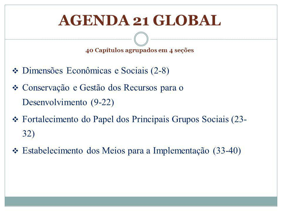 AGENDA 21 GLOBAL 40 Capítulos agrupados em 4 seções