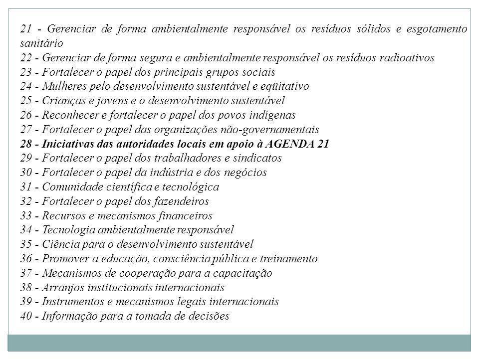 21 - Gerenciar de forma ambientalmente responsável os resíduos sólidos e esgotamento sanitário
