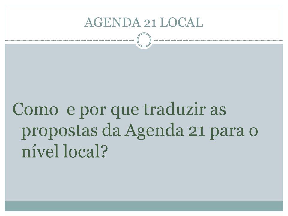 Como e por que traduzir as propostas da Agenda 21 para o nível local