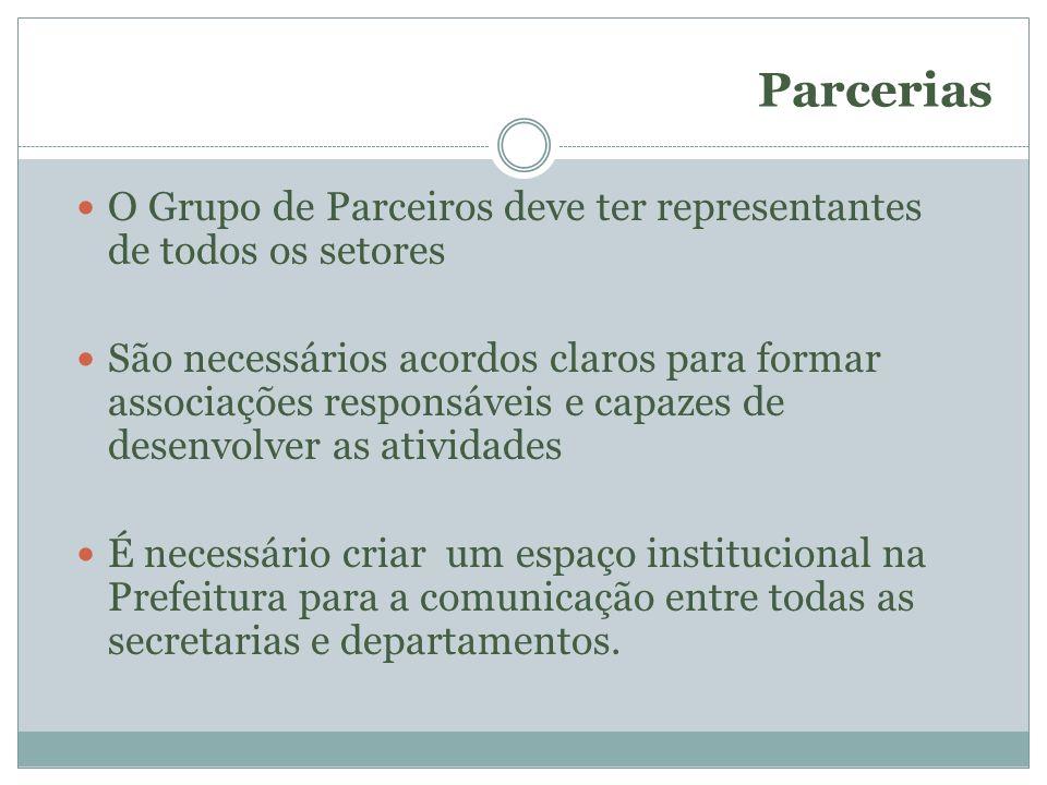 Parcerias O Grupo de Parceiros deve ter representantes de todos os setores.