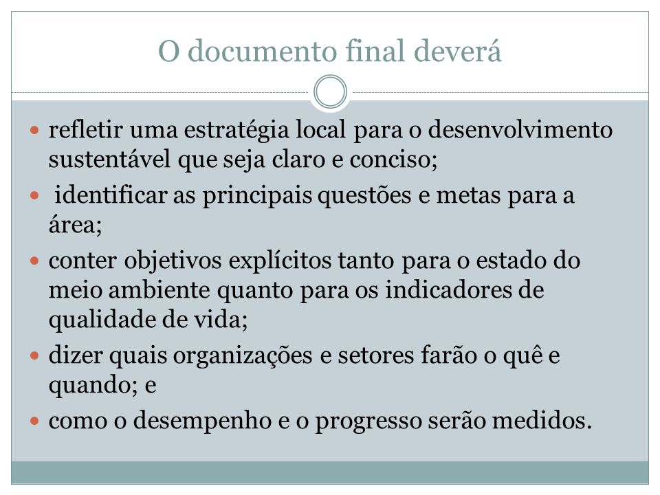 O documento final deverá