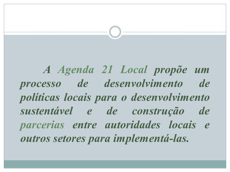 A Agenda 21 Local propõe um processo de desenvolvimento de políticas locais para o desenvolvimento sustentável e de construção de parcerias entre autoridades locais e outros setores para implementá-las.
