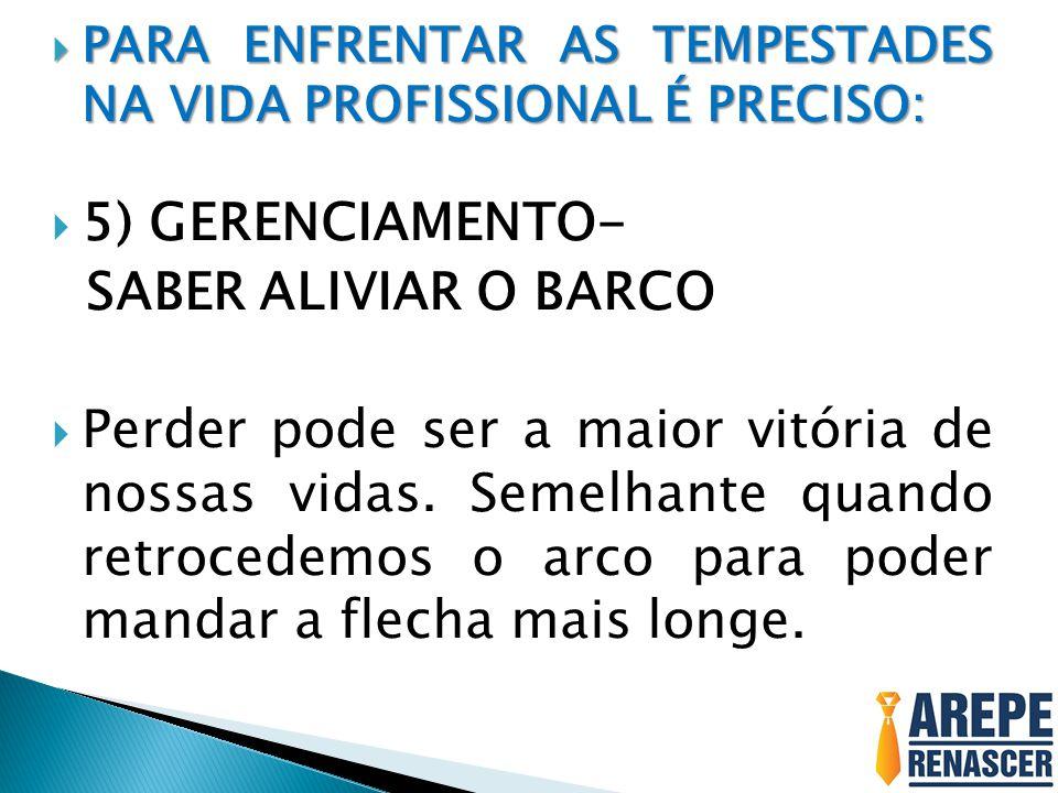5) GERENCIAMENTO- SABER ALIVIAR O BARCO