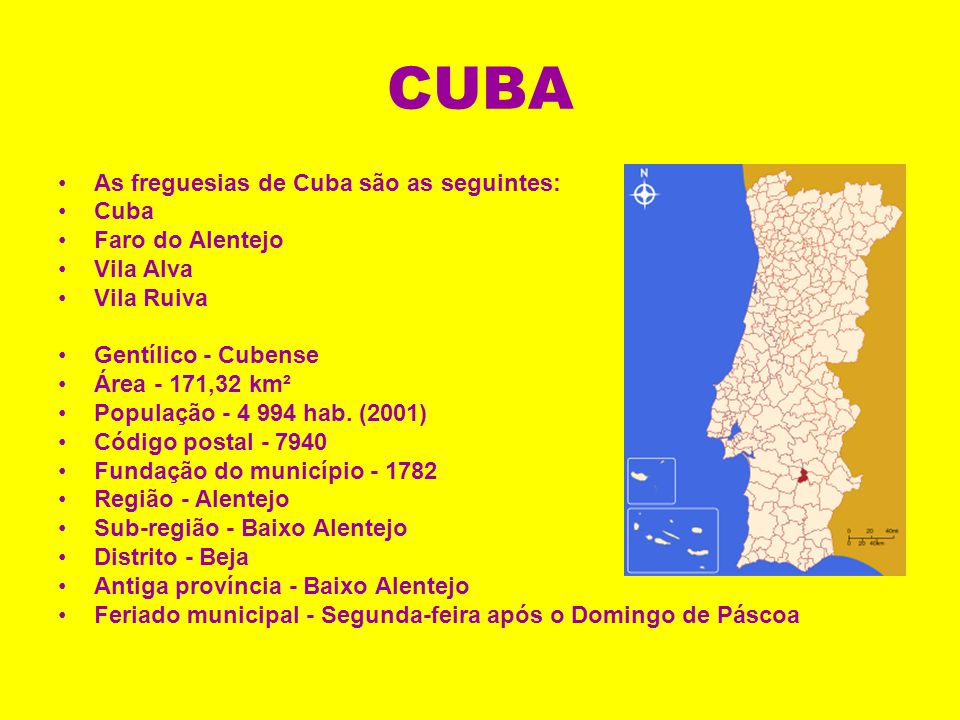 CUBA As freguesias de Cuba são as seguintes: Cuba Faro do Alentejo