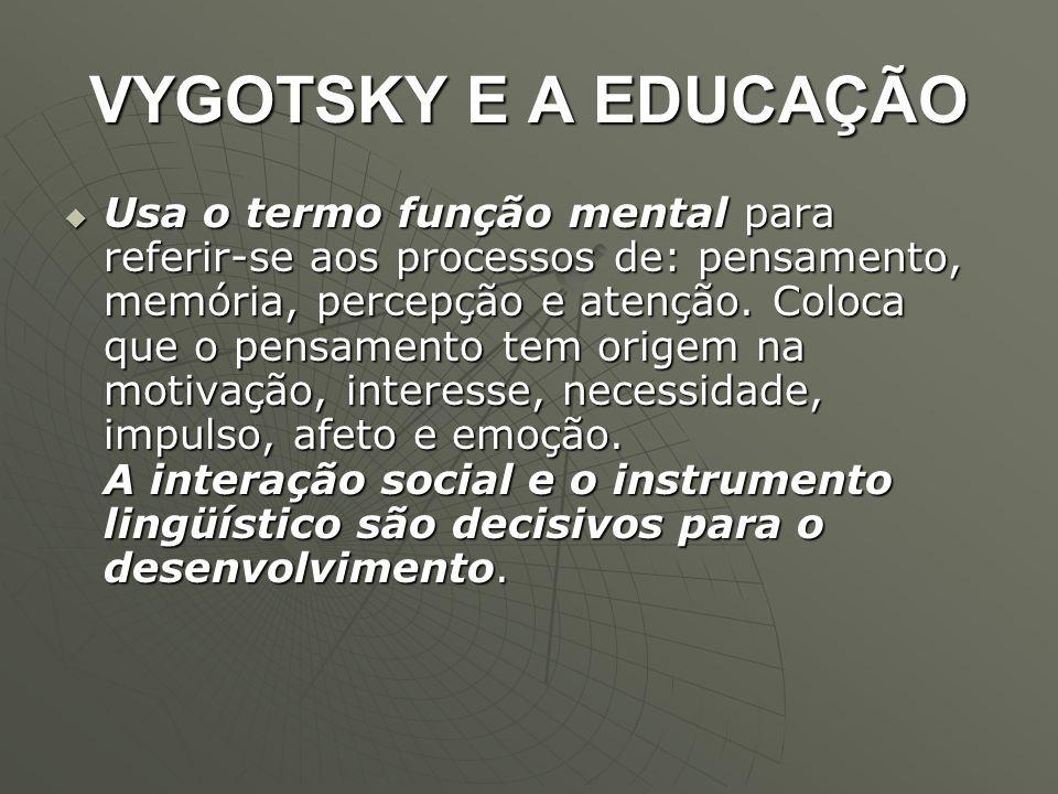 VYGOTSKY E A EDUCAÇÃO