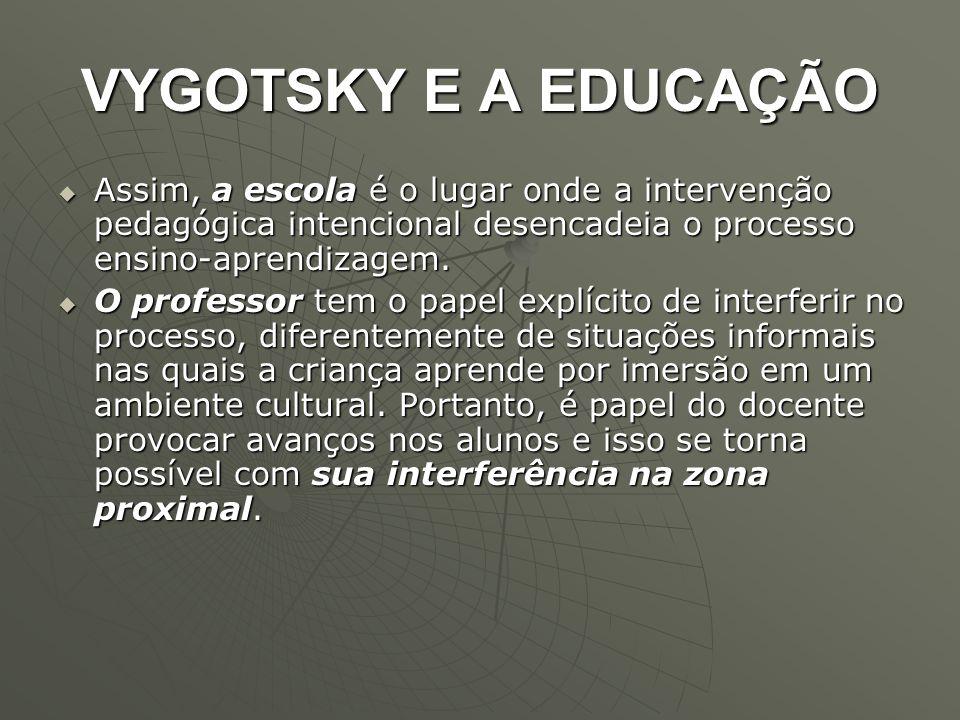 VYGOTSKY E A EDUCAÇÃO Assim, a escola é o lugar onde a intervenção pedagógica intencional desencadeia o processo ensino-aprendizagem.