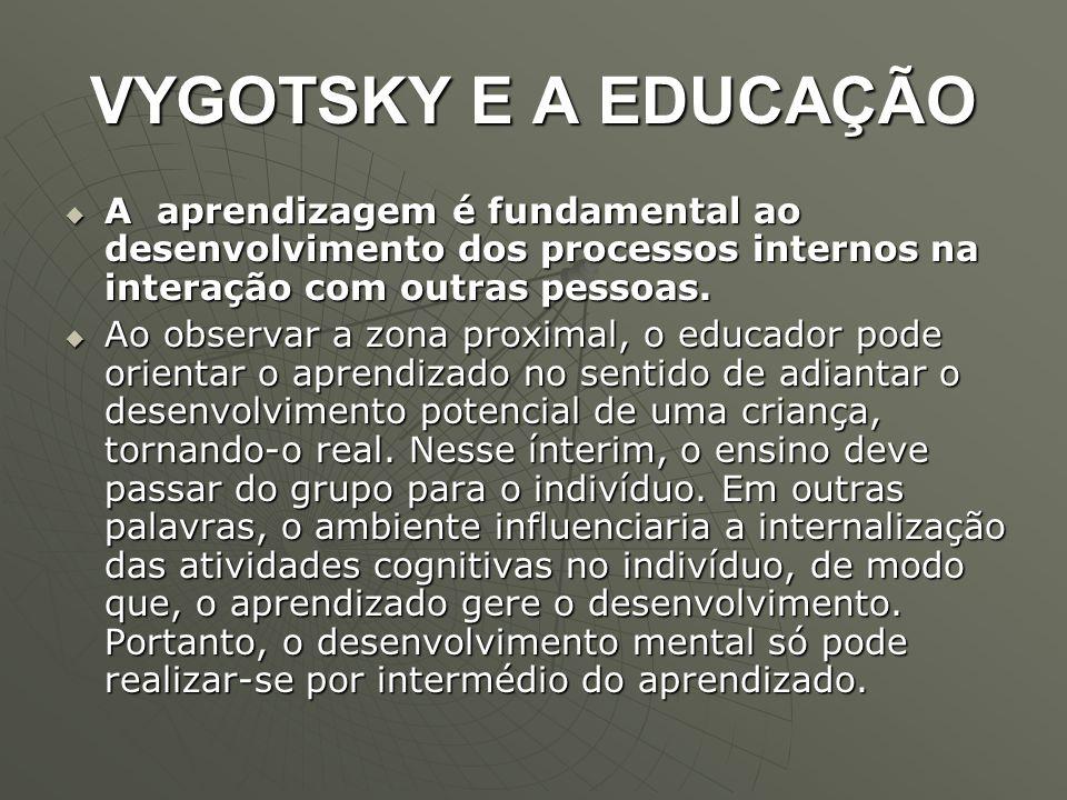 VYGOTSKY E A EDUCAÇÃO A aprendizagem é fundamental ao desenvolvimento dos processos internos na interação com outras pessoas.