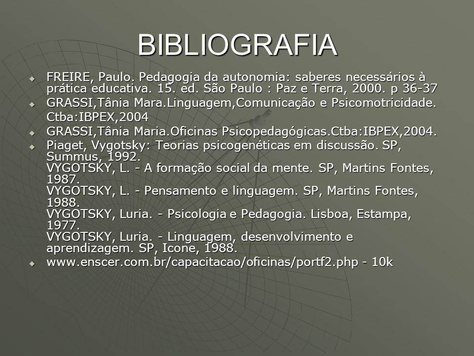 BIBLIOGRAFIA FREIRE, Paulo. Pedagogia da autonomia: saberes necessários à prática educativa. 15. ed. São Paulo : Paz e Terra, 2000. p 36-37.