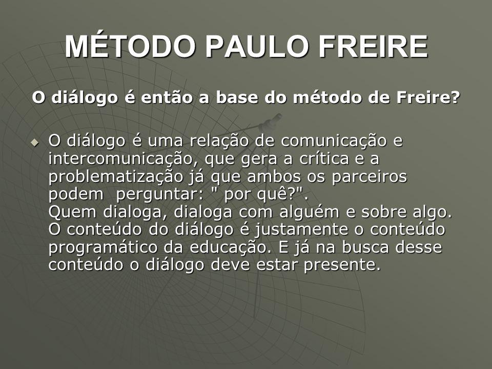O diálogo é então a base do método de Freire