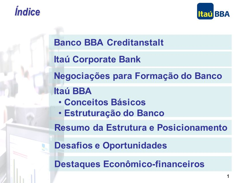 Índice Banco BBA Creditanstalt Itaú Corporate Bank