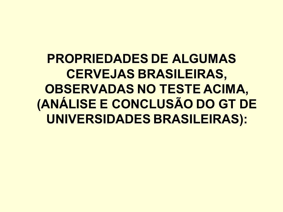 PROPRIEDADES DE ALGUMAS CERVEJAS BRASILEIRAS, OBSERVADAS NO TESTE ACIMA, (ANÁLISE E CONCLUSÃO DO GT DE UNIVERSIDADES BRASILEIRAS):