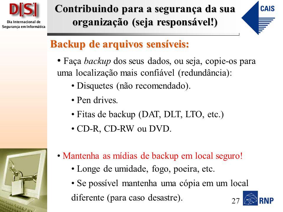 Backup de arquivos sensíveis: