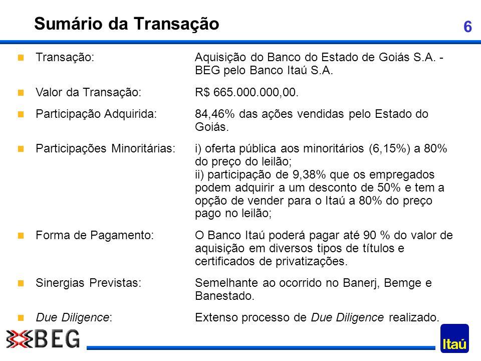 Sumário da Transação Transação: Aquisição do Banco do Estado de Goiás S.A. - BEG pelo Banco Itaú S.A.