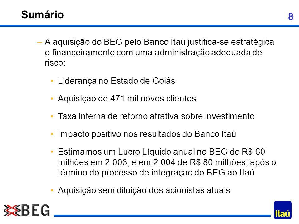 Sumário A aquisição do BEG pelo Banco Itaú justifica-se estratégica e financeiramente com uma administração adequada de risco: