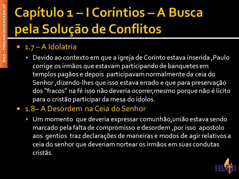 Capítulo 1 – I Coríntios – A Busca pela Solução de Conflitos