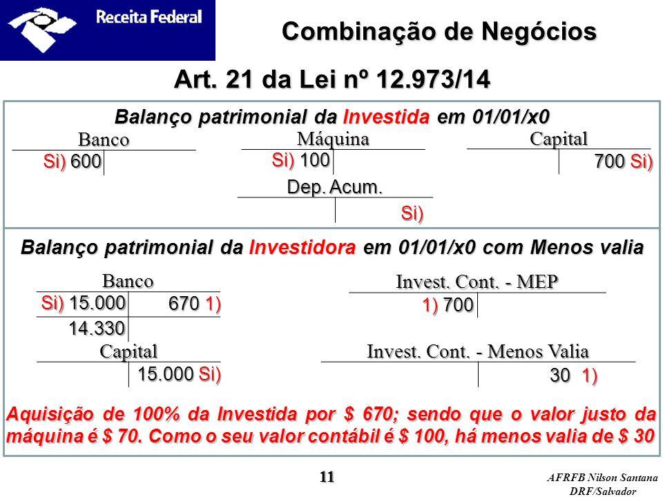 Combinação de Negócios Art. 21 da Lei nº 12.973/14